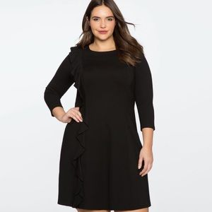 NWT Eloquii Asymmetrical Ruffle 3/4 Sleeve Dress